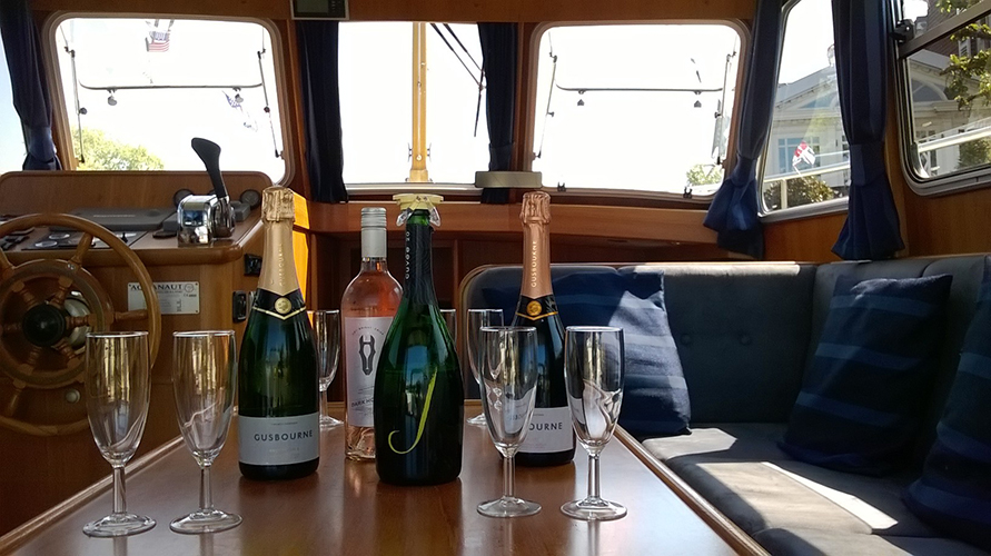 Annabel Virtue wine tasting on the River Thames